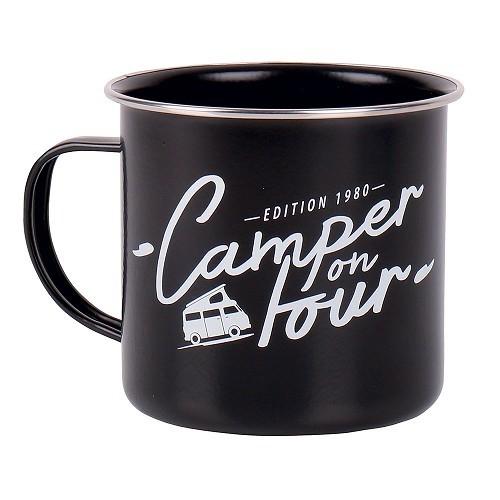 """Zoom sur Mug émaillé noir """"Camper on Tour"""" 500ml"""